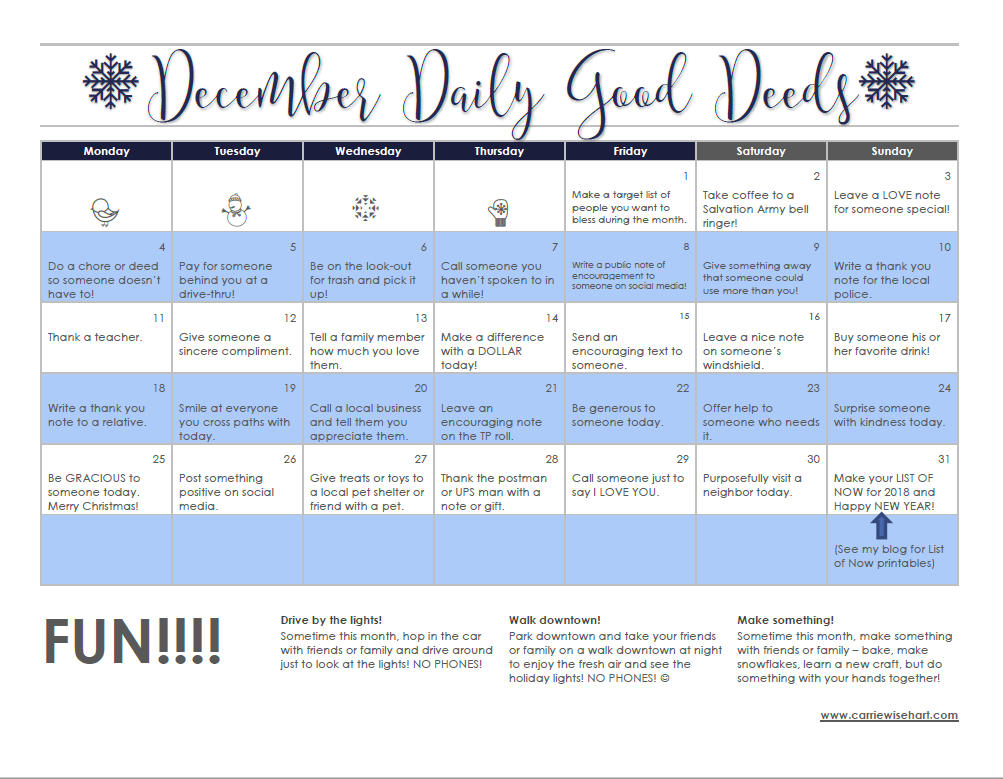 graphic about Daily Printable Calendar referred to as 3rd Once-a-year December Each day Constructive Deeds! (and a PRINTABLE